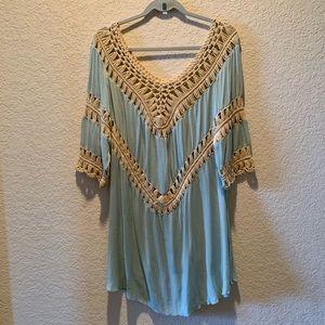 Umgee boho crotchet dress, size M